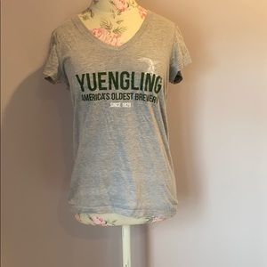 Yuengling lager grey v neck shirt size M